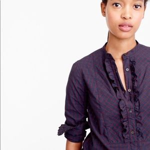 J Crew plaid ruffled button up top 4